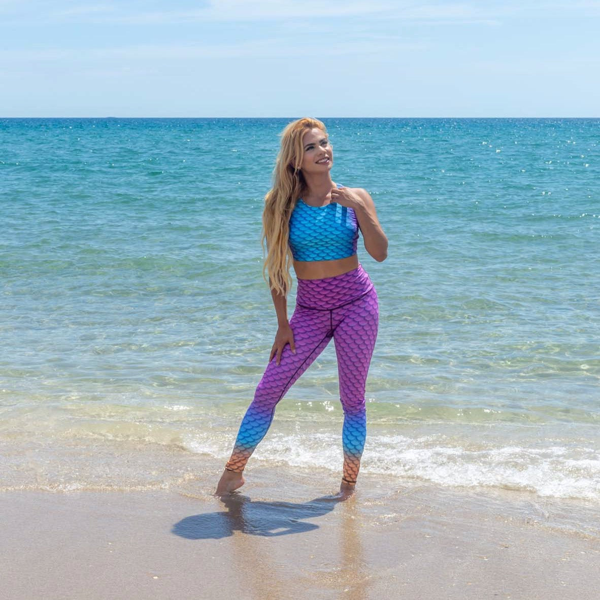 Aruba Mermaid Yoga Leggings by Cape Cali
