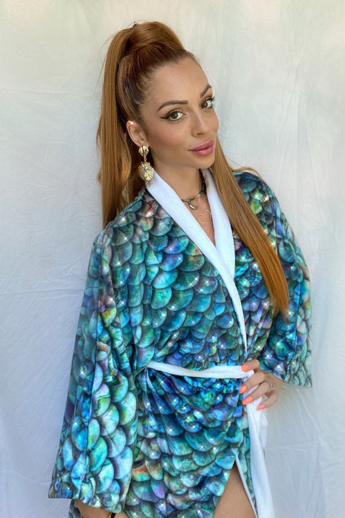 Abalone Mermaid Scales Luxury Robe by Cape Cali
