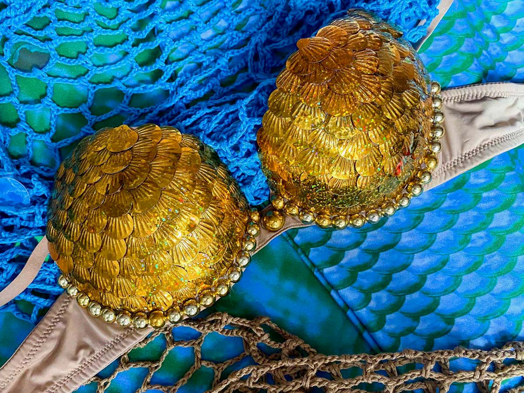 Golden Sequins Mermaid Top by Floria's Lagoon for Cape Cali