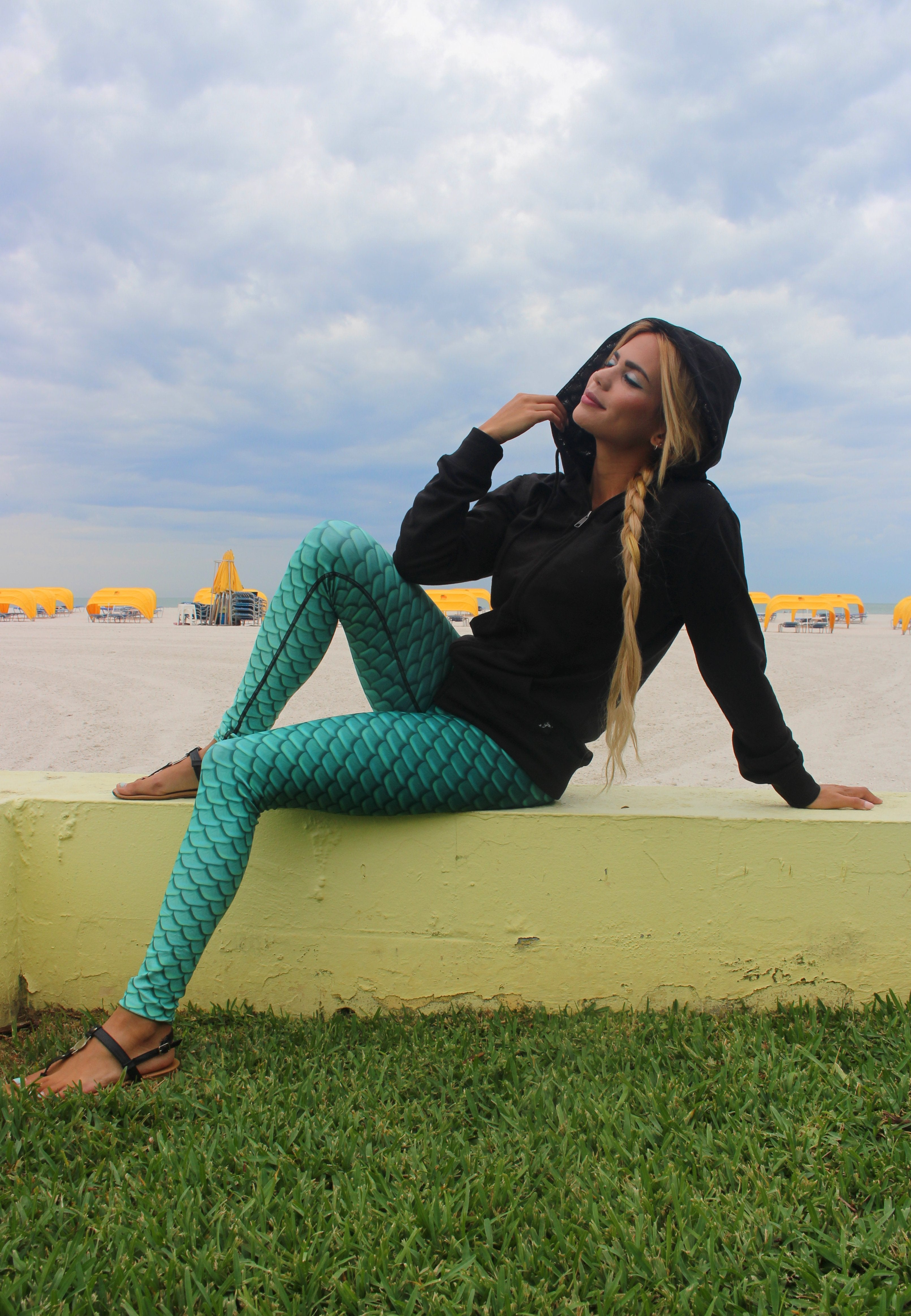 Mermaid Elle wearing Cape Cali Unisex MerHoodie in Onyx