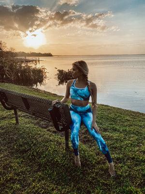 Mermaid Elle Wearing Tranquil Waters Padded Sports Bra - Cape Cali