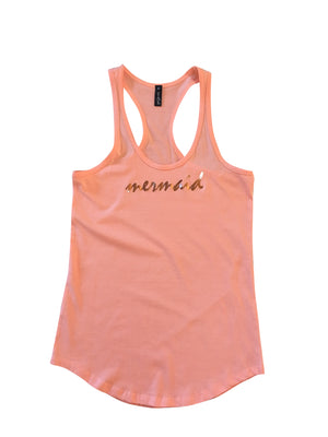 "Cape Cali Racer Back Tank ""Mermaid"" in Rose Gold Foil"