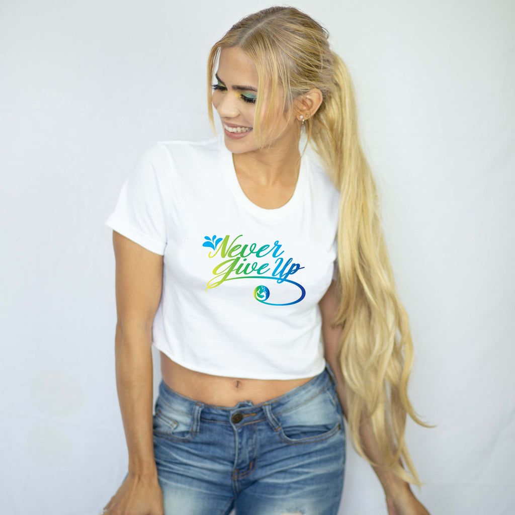 "Introducing Mermaid Elle's ""Never Give Up"" Women's Crop Tee by Cape Cali"