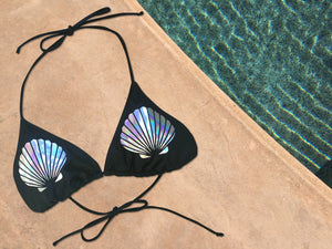 Silver Holo Mermaid Shell Bikini Top - Cape Cali