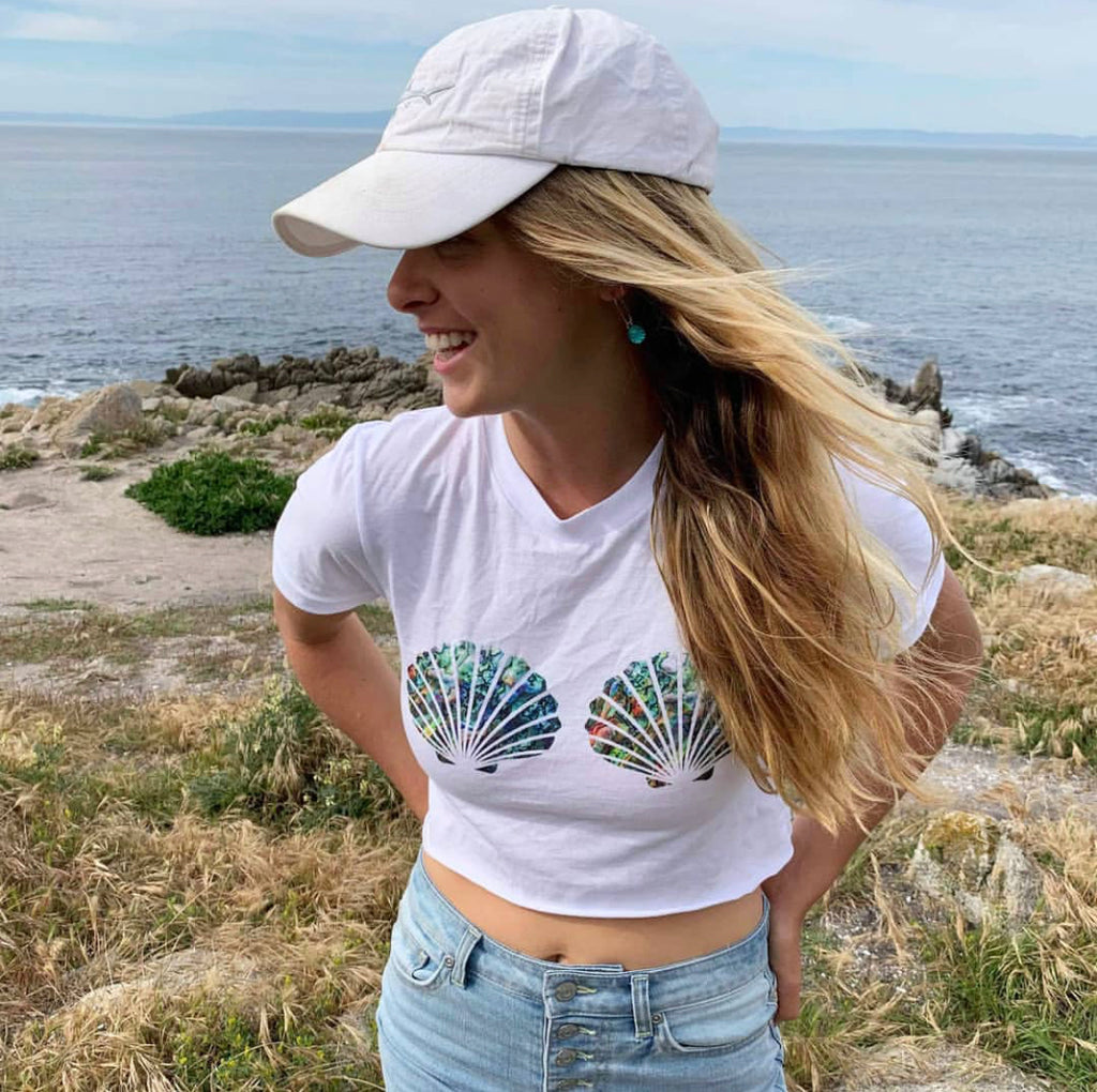 Abalone Mermaid Shell Top Cropped Tee - Cape Cali