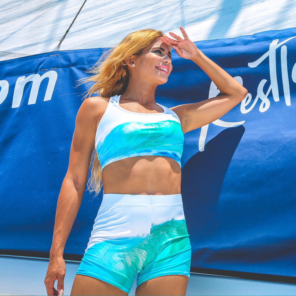 Cape Cali Ocean Wave Sports Bra