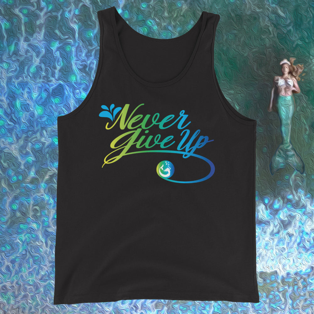 "Introducing Mermaid Elle's ""Never Give Up""Unisex Tank Top by Cape Cali"