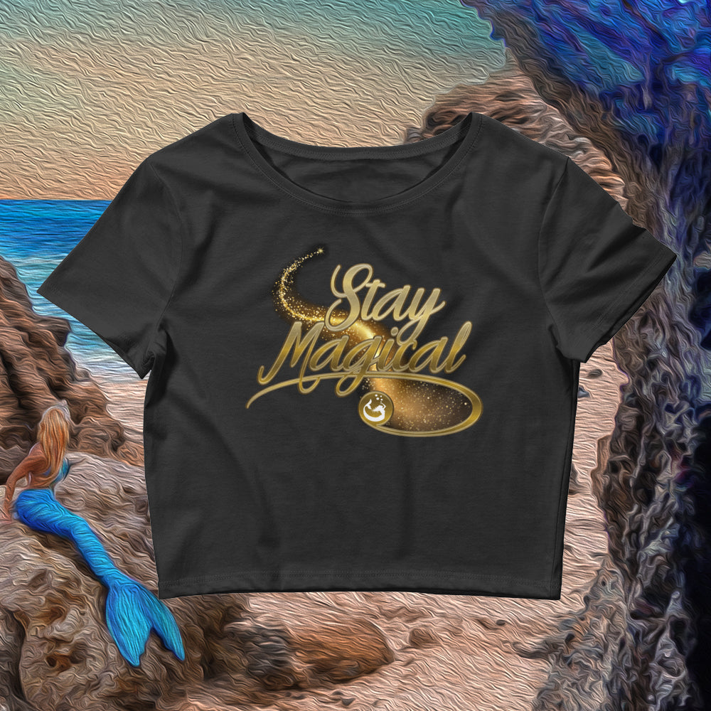 "Mermaid Elle ""Stay Magical"" Women's Crop Tee in Black - Cape Cali"