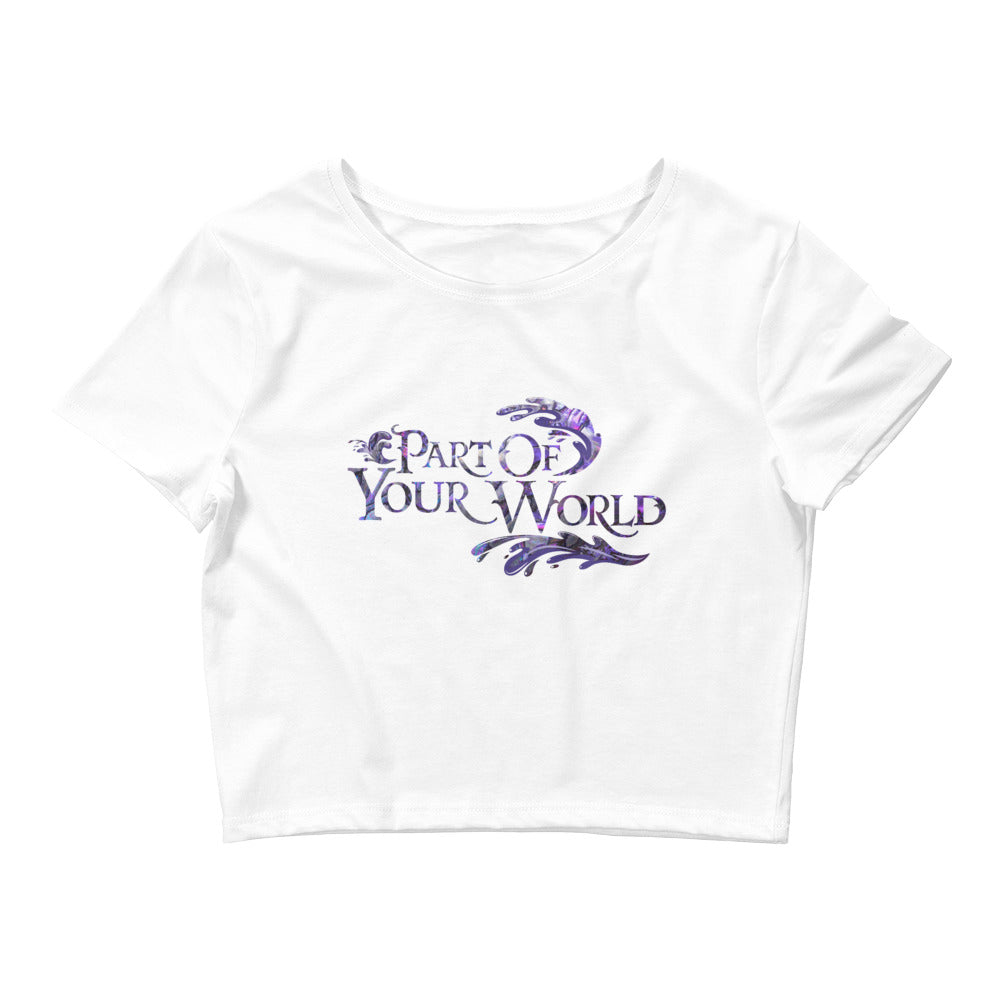 """Part of Your World"" Ariel inspired cropped tee, with purple abalone inlay, designed in celebration of Disney movie The Little Mermaid 30th Anniversary.  Cape Cali"