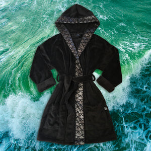 Cape Cali Unisex Onyx Too - Luxury Shorty Robe in Solid Onyx with Scale Trim - Cape Cali