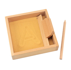 Montessori inspired sand writing tray - square, clear acrylic base