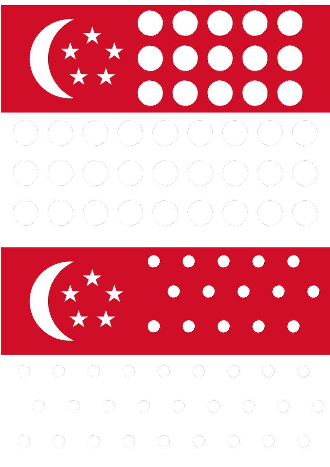 Singapore flag dot & colouring activity