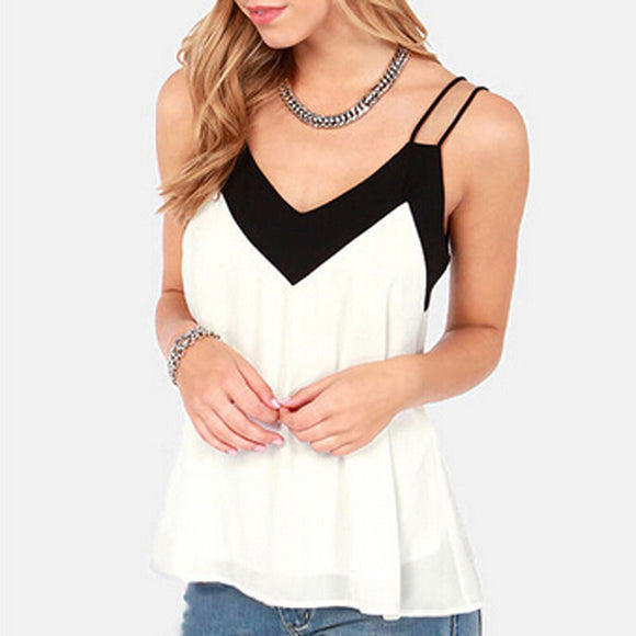 Women Sexy V Neck Casual Sleeveless Blouse