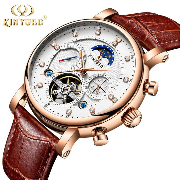 Automatic Mechanical Watches Tourbillon Skeleton Watch Men Calendar Relog Masculino