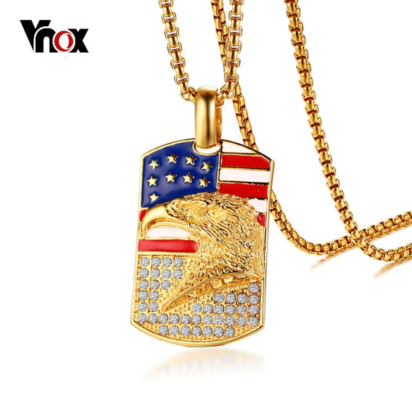 Vnox Gold Color United States Flag Eagle Pendant For Men Stainless Steel American National Symbol Male Punk Jewelry Accesories
