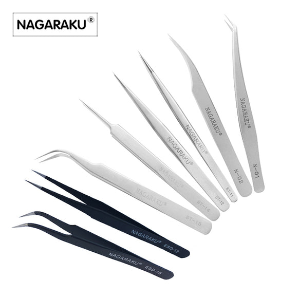 Stainless non-magnetic eyelash extension tweezers
