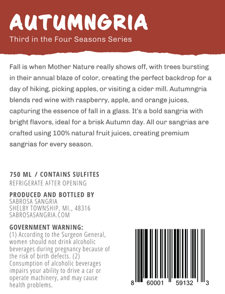 Autumngria Sabrosa Sangria Premium Raspberry Apple Back Label