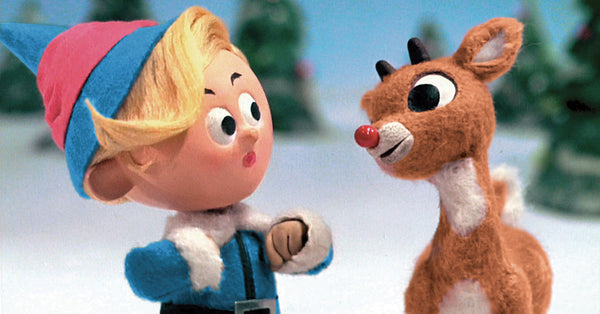 "A scene from ""Rudolph The Red-Nosed Reindeer"" featuring Hermey and Rudolph."