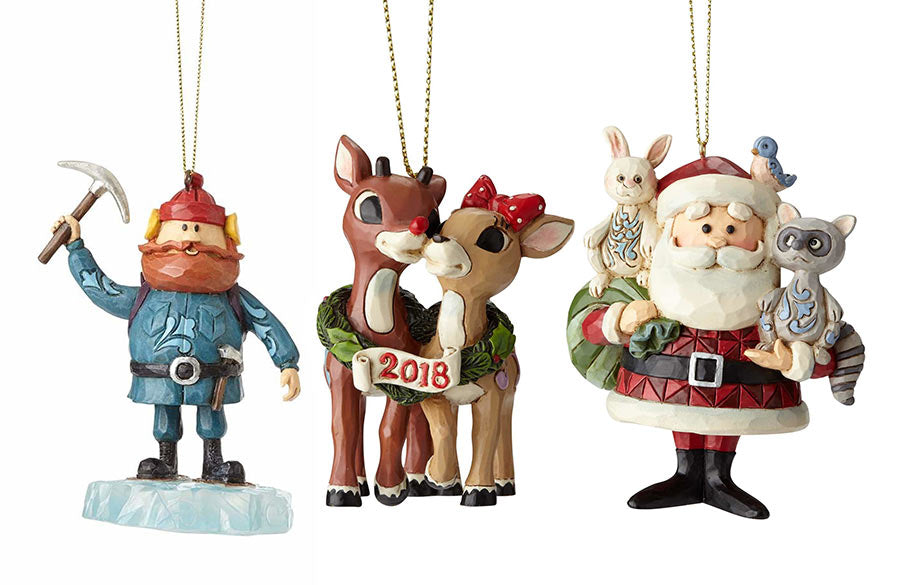 A collection of Christmas tree ornaments from the Rudolph Traditions Line.