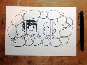 Pilgrim's Progress Original Art - Christian And Faithful Imprisoned