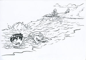 Pilgrim's Progress Original Art - Christian and Hopeful Swim