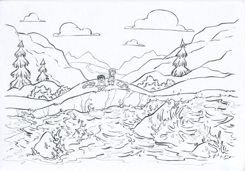 Pilgrim's Progress Original Art - Christian And Hopeful Reach The River of Death