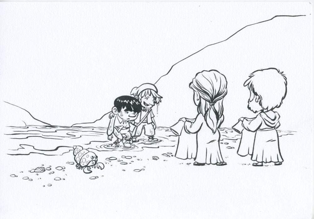 Pilgrim's Progress Original Art - Christian and Hopeful at the Shore