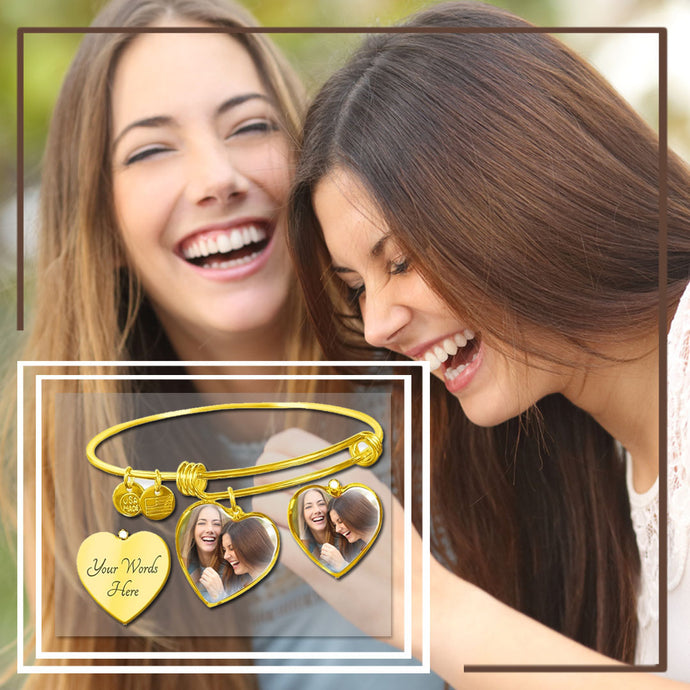 Personalized Heart Jewelry - Adjustable Bangle