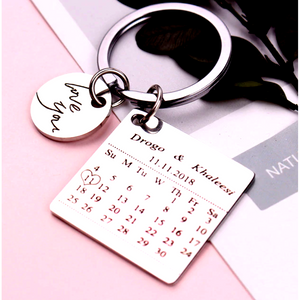 Love You Round Charm + Special Calendar Date Keychain