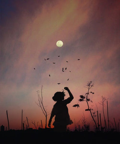 silhouette of girl with full moon in the background