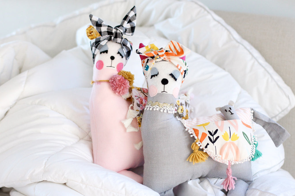 Pink Vintage - Mama & Baby Llama Handmade Softies/Cushion