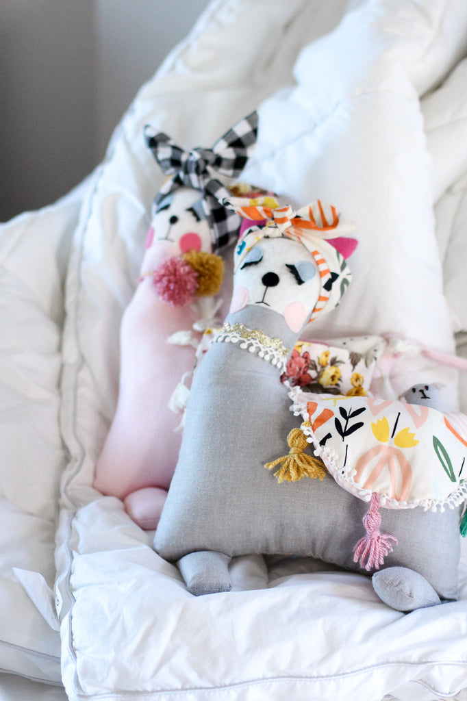 Grey Boho - Mama & Baby Llama Handmade Softies/Cushion
