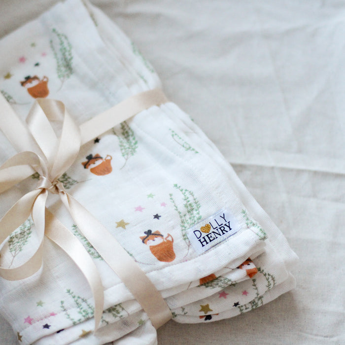 Organic Baby Blanket - Miss Fox in Thyme