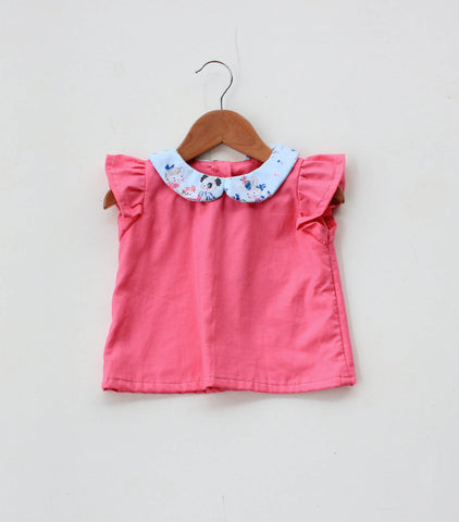 Strawberry Picnic Blouse Peter Pan Collar Top Size 2-3