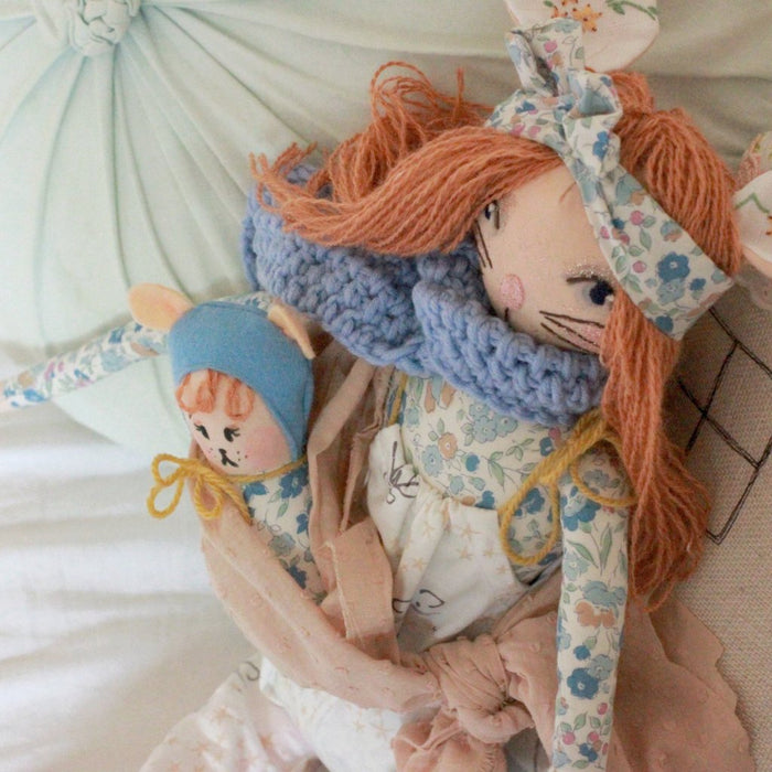 Mishka and Mish Bohemian Mother and Baby Handmade Doll