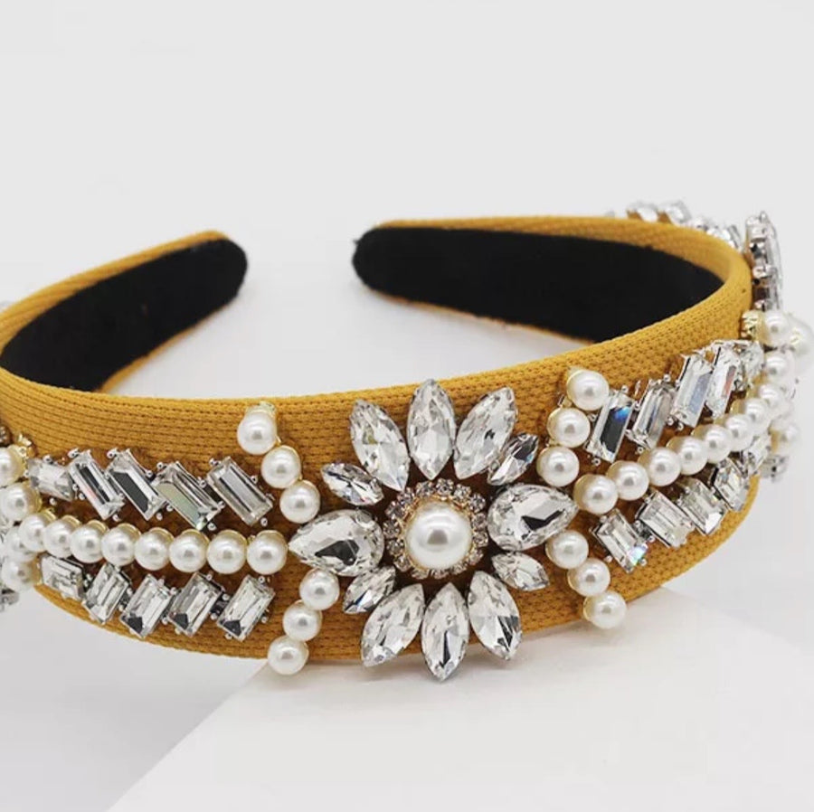 Mustard Yellow Crystal / Pearl Alice Band