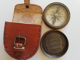"2.3"" Brass Brown Antique style Compass with Poem / World Time / Red leather Buckle cover"
