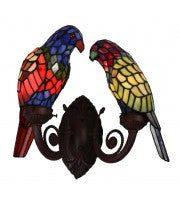 Leadlight multi-color pair parrot wall lamp.