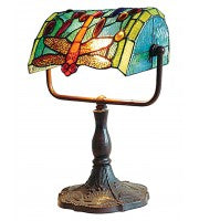 Leadlight dragonfly banker lamp