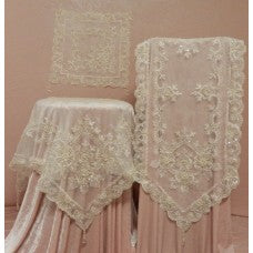 Cream 40cm sq, Organza Doily embroidered and hand beaded
