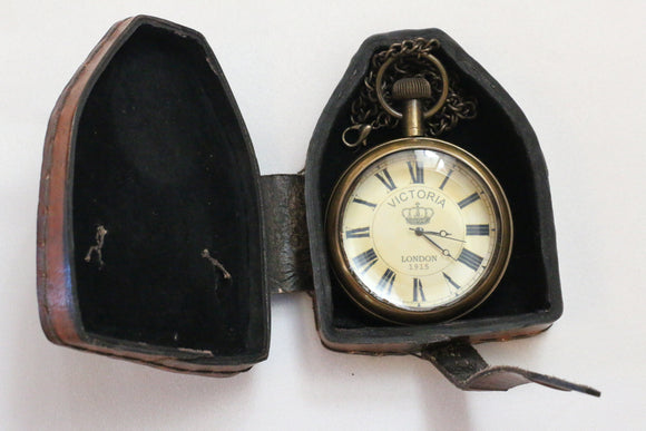 Royal navy antique style brass pocket watch with leather case