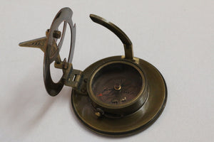 ELLIOTT BROS LONDON BRASS AND COPPER SUNDIAL COMPASS WITH LEATHER CASE