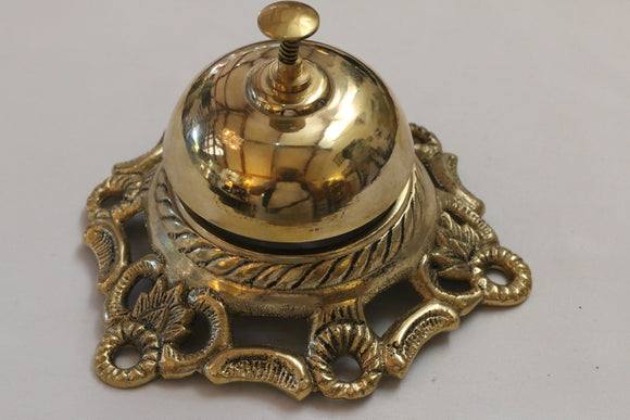 Solid Brass Ornate call Desk bell Etched Designer for Hotel, office