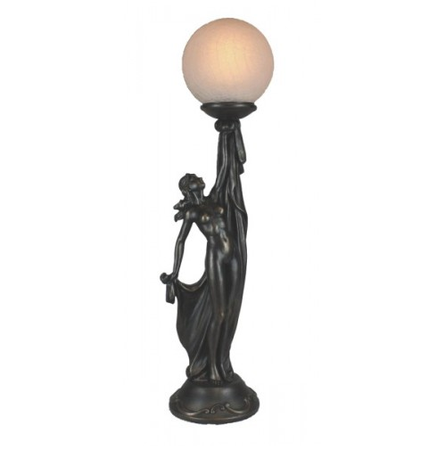 Art deco lamp, standing lady upholding crackled glass ball.