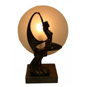 Dancing deco lady panel table lamp with frosted glass panel