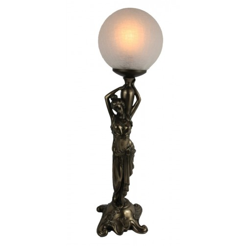 Art Nouveau table lamp. Lady shouldering vase with crackle glass ball.