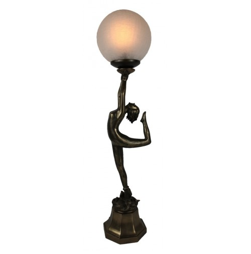 Cold cast bronze art deco table lamp - snake lady upholding crackle glass ball.