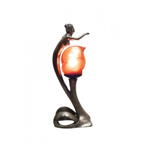 art nouveau lady table lamp with resin orange shade.