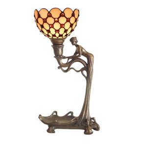 Art nouveau cold cast bronze lady figure lamp with cream leadlight shade.