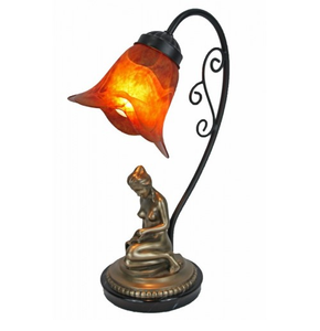 reading girl figure lamp with amber pressing glass shade